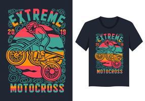 extremer Motocross-bunter T-Shirt Entwurf vektor