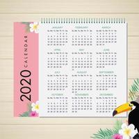 2020 tropischer Kalenderentwurf vektor