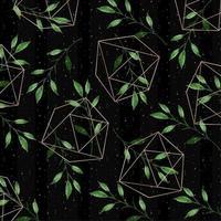akvarell blommönster med geometriska former vektor