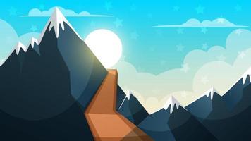 Tecknad landskap. Berg, firr, moln, solillustration