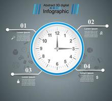 Klocka, klocka, tidsikon. Fyra objekt infographic.