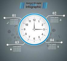 Uhr, Uhr, Zeitsymbol. Geschäft mit vier Einzelteilen infographic.