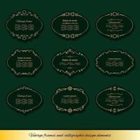 Vintage gyllene ovala ramuppsättningar. vektor