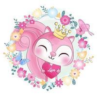 Söt liten rosa ekorre och blomma akvarell design vektor