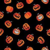 Rolig Halloween Jackolantern sömlös retro mönster vektor