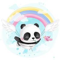 Söt liten panda som flyger i himlen vektor