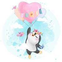Söt liten pingvinflyg med luftballongen vektor