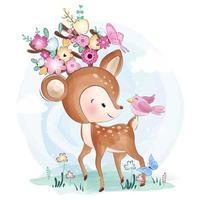 Babyhjortar och fågelvänner med blommor vektor