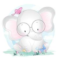 Söt liten elefant med glasögon och fjärilar