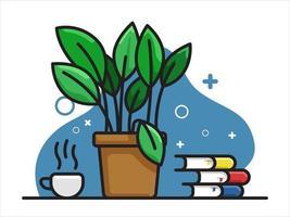 Blumentopf mit Kaffeetasse und Stapel Büchern
