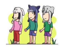 Barn som bär djur hattar