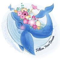 Netter kleiner Wal und Blume vektor