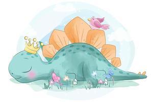 Söt Stegosaurus liten dinosaurie med fågeln