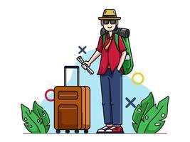 Turist karaktär med resväska vektor