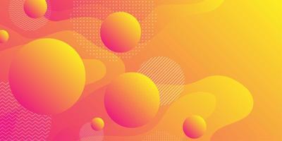 Orange gul vätskeformbakgrund med sfärer vektor