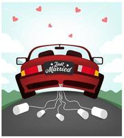 Gerade verheiratetes Hochzeitsauto vektor