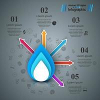 Pappersblått vatteninfografi. vektor