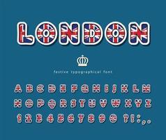 Britische Schrift mit Nationalflaggefarben.