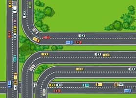 Draufsicht der Straße mit Landstraßen
