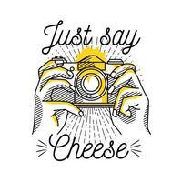 Sagen Sie einfach Käse-Kamera-Illustration vektor