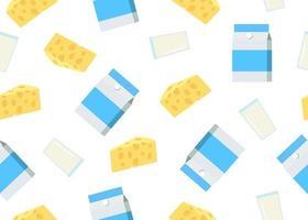 Seamless mönster av ostskivor och mjölkprodukt vektor