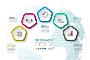 Pentagoner märker infographic med 5 steg. vektor