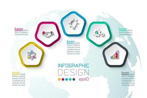 Pentagons beschriften Infografik mit 5 Schritten.