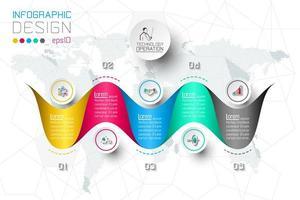 Alternativ för affärssteg och mall för abstrakt infographicsnummer.