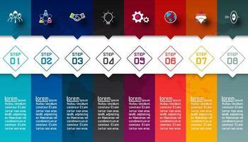Färgglada staplar med affärsikoninfografik.