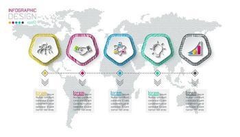 Pentagoner märker infographic med 5 steg.