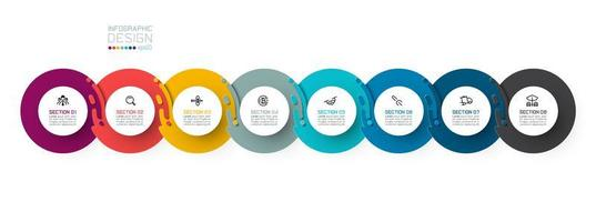 Acht harmonische Kreis Infografiken. vektor