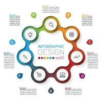 Sju cirklar med affärsikoninfografik.