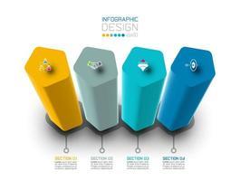 Etikettendesign Vektor Infographic mit Pentagonsäulendesign.