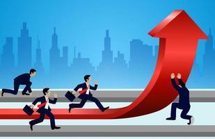 Die laufenden Geschäftsmänner und ändern Richtungspfeile, die zum Ziel rot sind