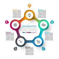 Fem cirklar med affärsikoninfografik.