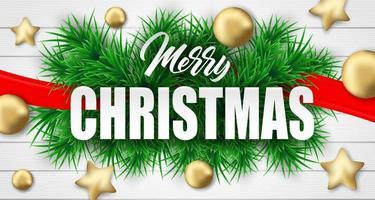 Design der frohen Weihnachten mit Weihnachtsbaumasten und -verzierungen auf weißem Holz