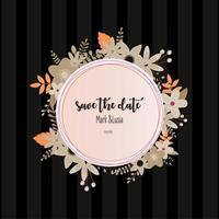Hochzeitseinladungsrahmen mit Blumenmuster vektor