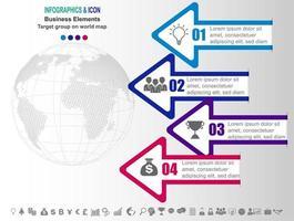Infographic affärs tidslinje med pilar och 4 alternativ