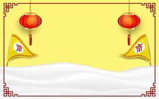 Vegetarische Festivallogolaternen und -flaggen auf gelbem Hintergrund