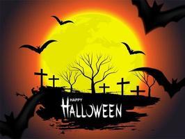 Halloween-Design mit Mond und Fledermäusen auf orange Himmel