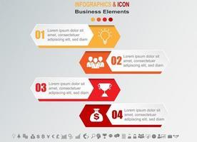 Infografik Business Timeline mit 4 Banner vektor