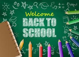 Tillbaka till skoladesign med färgglada blyertspennor och anteckningsbok på svarta tavlan vektor