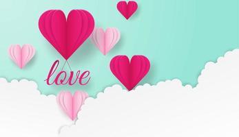 Glückliches Valentinsgrußdesign mit Liebestext und Herzen, die in Wolken fliegen