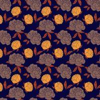 Marine- und Orangenrosenmuster