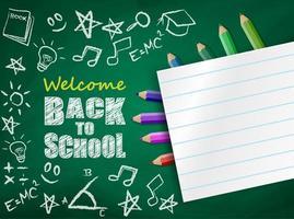 Tillbaka till skoladesign med färgglada blyertspennor och papper på svarta tavlan vektor