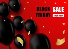 Black Friday-Verkaufsentwurf mit schwarzen Ballonen auf Rot