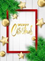 Vertikales Weihnachtsdesign mit rotem Rahmen und Weihnachtsverzierungen auf weißem Holz