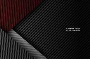 svart, röd kolfiber överlappar bakgrund vektor