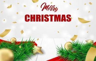 Juldesign med julgranfilialer, konfetti och prydnader på vitt trä