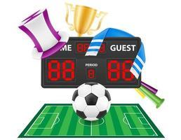 uppsättning fotboll fotboll fan objekt och tillbehör vektorillustration